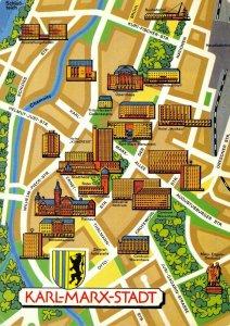 Vintage 1989 KARL-MARX-STADT East Germany, Street, Map Buildings Postcard ES7