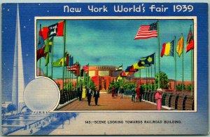 1939 NEW YORK WORLD'S FAIR Postcard RAILROAD BUILDING Miller Art Linen Unused