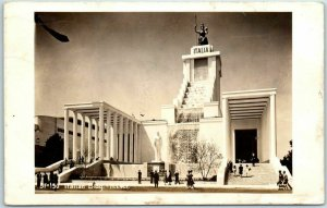 1939 New York World's Fair RPPC Real Photo Postcard Italian Building w/ Cancel
