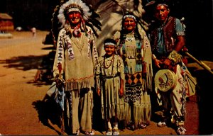 Oklahoma Bristow J & J Eat Shop Highway 66 Indian Chief Running Horse and Family
