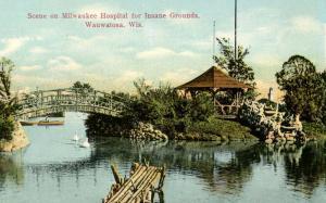 WI - Wauwatosa. Scene on Milwaukee Hospital for the Insane Grounds.    *RPPC ...
