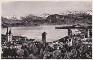 Switzerland Luzern Hofkirche Museggtuerme und die Alpen Real Photo