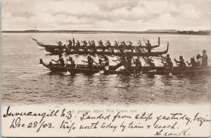 Maori War Canoe Race NZ New Zealand c1903 Stamp Muir & Moodie Postcard E56