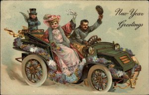 New Year - Party Goers in Car Celebrating PFB 7936 c1910 Postcard #2