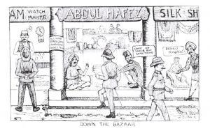 Repro Postcard WW1 British India Military Comic Sketch Down the Bazaar W. Quinn