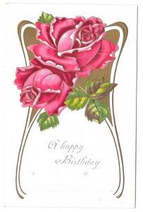 Happy Birthday Roses Vintage Embossed Postcard