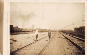 E67/ Brewster? Beach City Ohio RPPC Postcard 1912 Railroad Yards Kids