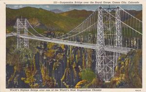 World´s Highest Bridge, Royal Gorge Steel Suspension Bridge, Canon City Colo...