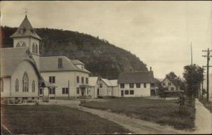Fairlee VT - Church & Town Bldgs - Orford NH Cancel c1910 Real Photo Postcard