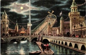 CONEY ISLAND SHOOTING THE CHUTES LUNA PARK AT NIGHT MOONLIGHT ANTIQUE POSTCARD