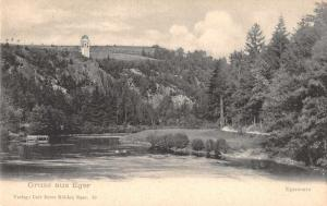 Eger Hungary Scenic View Gruss aus Antique Postcard J48373