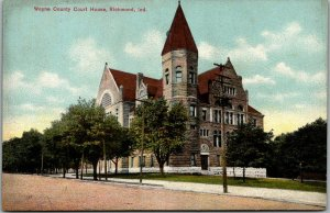 Richmond, Indiana Postcard WAYNE COUNTY COURT HOUSE Street View / 1908 Cancel