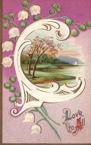 ?Vintage Postcard 1911 Love To All Calligraphy Big Letter C Nature Lake Artwork