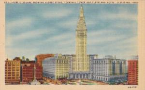 Ohio Cleveland Public Square Showing Higbee Store Terminal Tower and Clevelan...