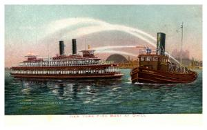 New York , Fire Boat at Drill