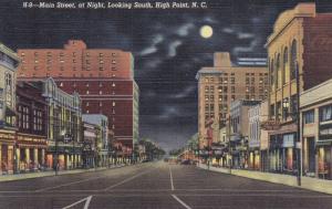 HIGH POINT, North Carolina, 1930-1940's; Main Street At Night, Jacobs News Shop