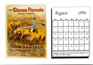 1990 Sheet Music Calendar Series August The Circus Parade March Two Step