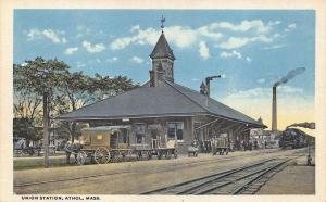 Athol MA Union Train Station Railroad Depot Postcard