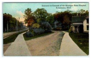 KALAMAZOO, MI ~ Grounds Entrance MICHIGAN STATE HOSPITAL Asylum 1910s Postcard