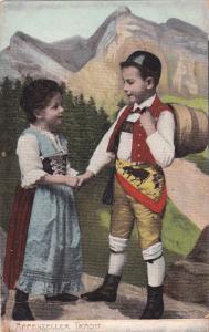 APPENZELLER TRACHT Switzerland, Swiss Children in traditional costume holdi...