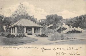 Madison New Jersey~James Park~Shelter & Walking Bridge~Fancy Lightpost~1907 PC