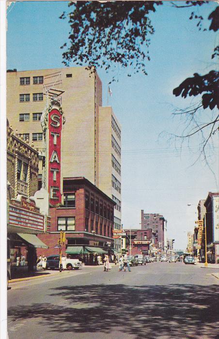 Burdick Street Looking North, State Theatre, Store Fronts, KALAMAZOO, Michiga...