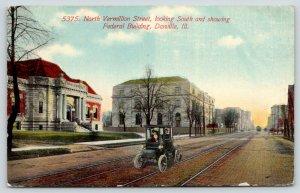 Danville Illinois~Vintage Car on North Vermillion Street~Federal Building~1913