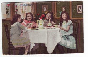 P1307 old used foreign colorful postcard jag gratulera young girls having tea