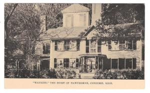 MA Concord Wayside Home of Nathaniel Hawthorne Author Vintage Tanner Postcard