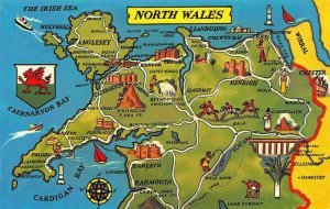 North Wales Anglesey Map Harlech Barmouth Denbigh Chester Postcard