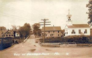 Columbia Falls ME Dirt Street Church Business Area Bridge RPPC Postcard