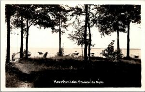 Prudenville Michigan~View From Shore~Houghton Lake~Fisherman on Dock~1930s RPPC