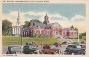 Maine Ellsworth City Hall and Congregational Church
