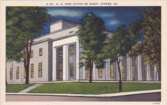 Georgia Athens U S Post Office By Night