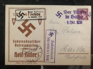 1938 Haida Sudetenland Germany Provisional cancel Postcard cover Heil Hitler!