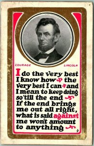 1910s ABRAHAM LINCOLN Postcard I Do the Very Best I Know -The Very Best I Can…