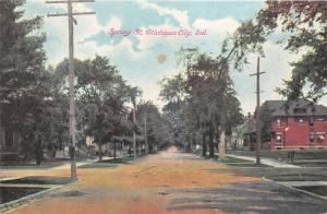 Michigan City Indiana~Spring Street~Houses & Tall Trees~Signs on Post~c1910 Pc