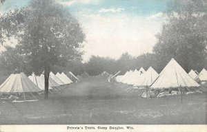 Private's Tents Camp Douglas, Wisconsin Military Army Vintage Postcard