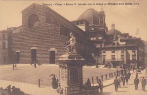 Chiesa e Piazza S. Lorenzo con la Statua di Giovanni delle Bande Nere, Firenz...