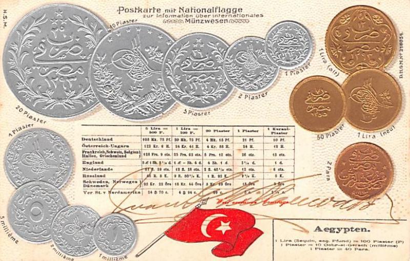 Coin Postcard, Old Vintage Antique Aegypten