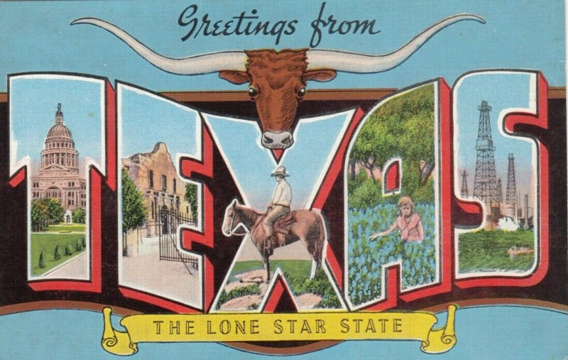 Large Letter Greeting TEXAS , 1930-40s