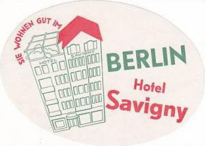 GERMANY BERLIN HOTEL SAVIGNY VINTAGE LUGGAGE LABEL