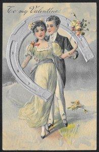 To My Valentine Dressed Up Lady & Man Holding Horseshoe Used c1908