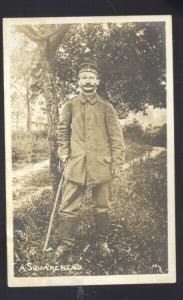 RPPC PHILIPPINES ARMY SOLDIER A SQUARE HEAD WWI VINTAGE REAL PHOTO POSTCARD