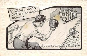 Old Vintage Bowling Postcard Post Card But you can always try again 1911