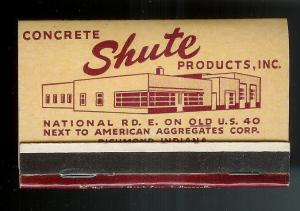 SHUTE CONCRETE Products 1950's Full Unstruck Matchbook