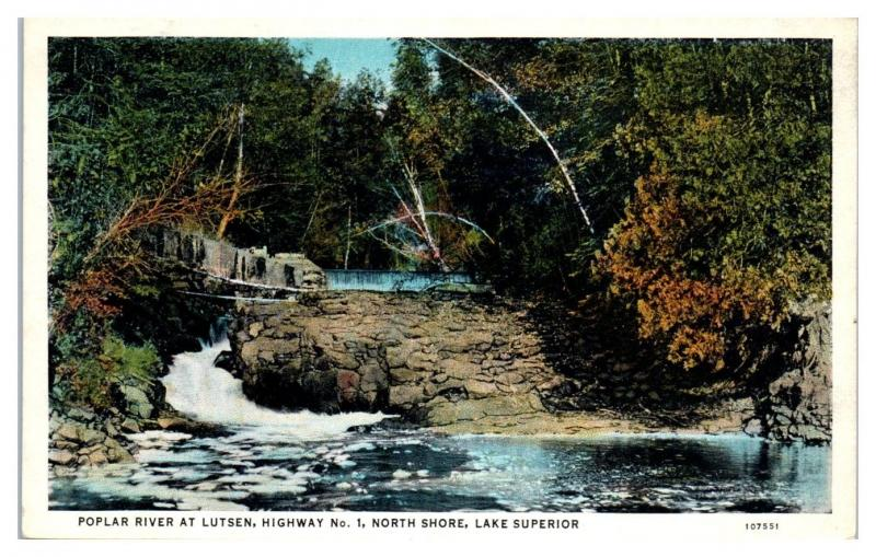 Early 1900s Poplar River at Lutsen, MN Hwy 1 North Shore, Lake Superior Postcard