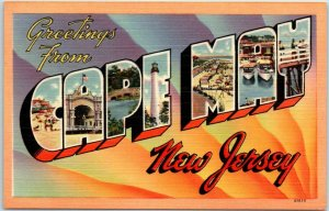CAPE MAY New Jersey Large Letter Postcard Tichnor Linen #67625 c1940s Unused