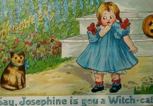 Vintage Halloween Postcard Tucks Josephine The Cat Series 181 Original Wichita