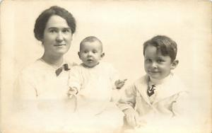 1907-1915 Real Photo PC Young Mother in Fancy Hat w Infant & Boy Child, Unposted